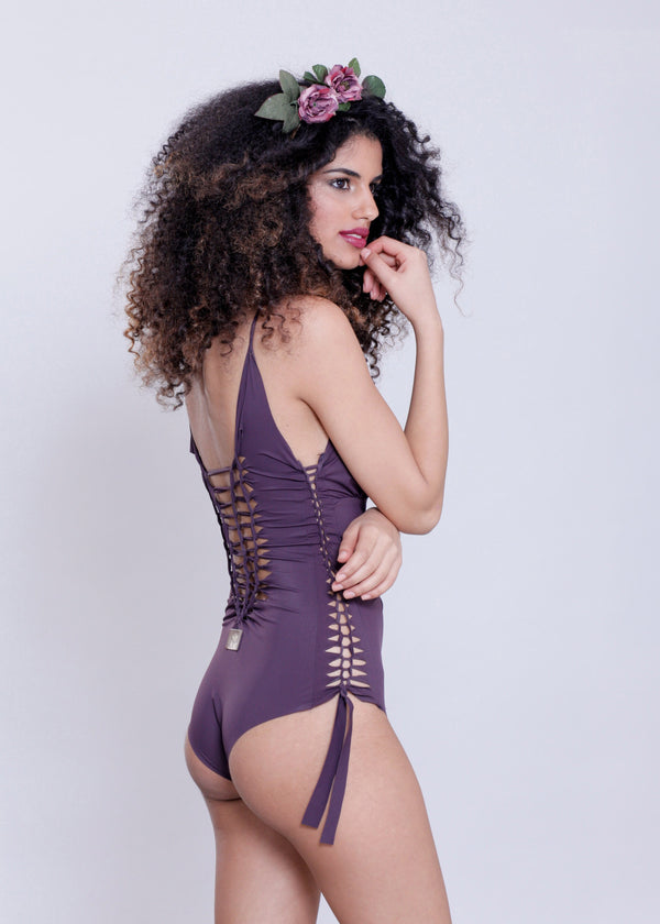 "Dark Purple One Piece Swimsuit For Women ""DELI"" (Lycra Fabric) - goa-magic-fashion"