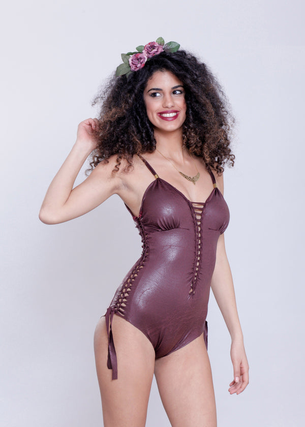 "Bordeaux One Piece Swimsuit For Women ""DELI"" (Lycra Fabric) - One Piece - [By Goa Magic Fashion]"