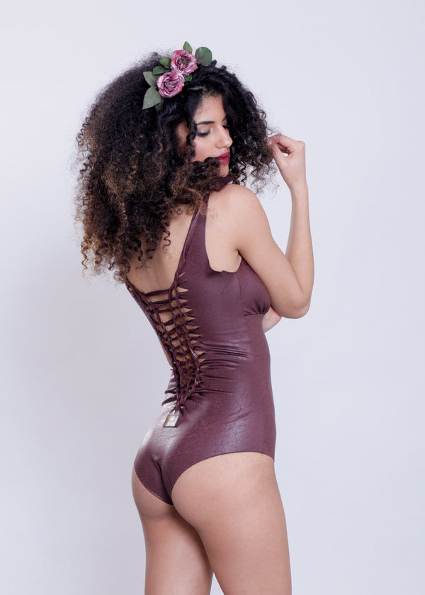 "Bordeaux One Piece Swimsuit For Women ""CUT"" (Lycra Fabric) - One Piece - [By Goa Magic Fashion]"