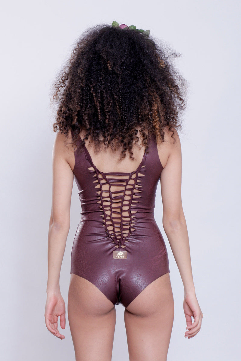 "Bordeaux One Piece Swimsuit For Women ""CUT"" (Lycra Fabric) - goa-magic-fashion"