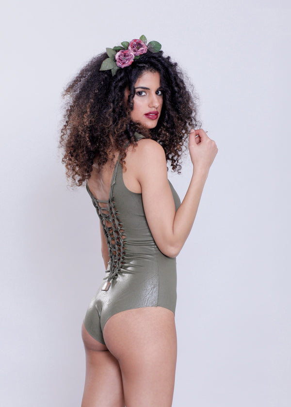 "Olive Green One Piece Swimsuit For Women ""CUT"" (Lycra Fabric) - goa-magic-fashion"