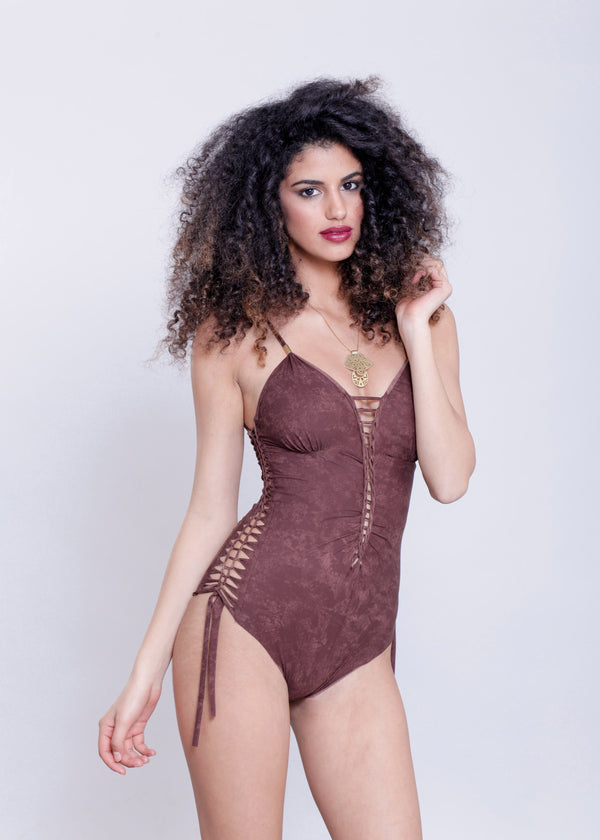"Shabby Brown One Piece Swimsuit For Women ""DELI"" (Lycra Fabric) - One Piece - [By Goa Magic Fashion]"