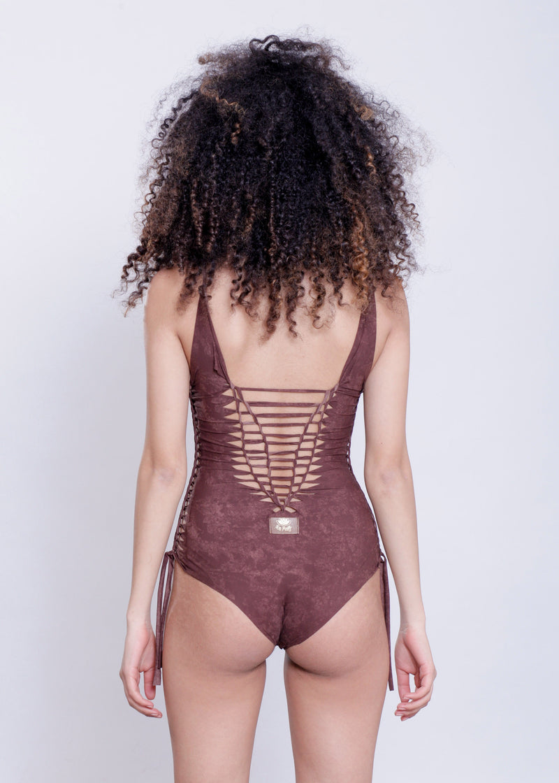 "Shabby Brown One Piece Swimsuit For Women ""DELI"" (Lycra Fabric) - goa-magic-fashion"