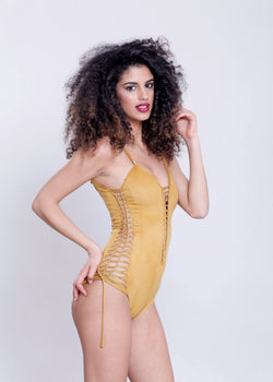 "Suede Look Mustard One Piece Swimsuit For Women ""SIDE"" - goa-magic-fashion"
