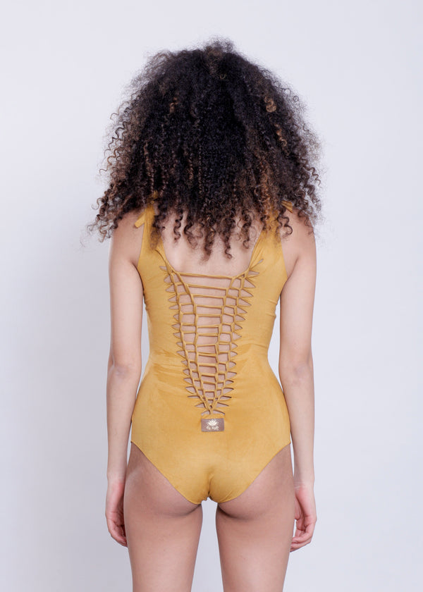 "Mustard One Piece Swimsuit For Women ""SIDE"" - One Piece - [By Goa Magic Fashion]"