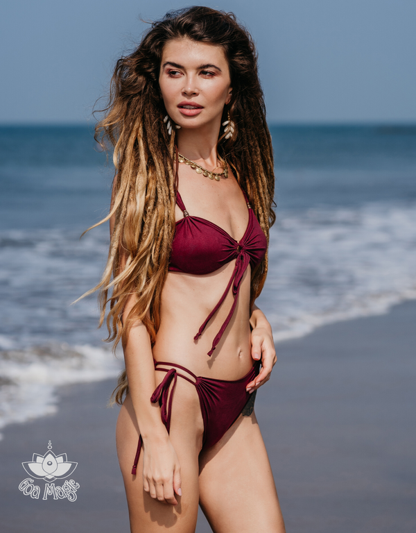 "Suede Look Bordeaux Bikini Set For Women ""Cross"""