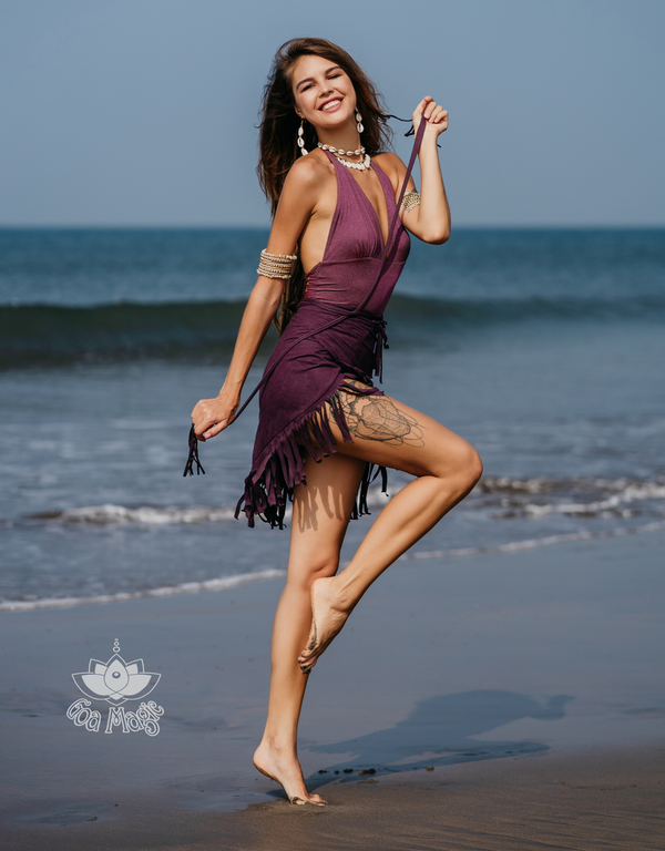Suede Purple Wrap Swimwear Skirt Decorated with Fringe / Cover up