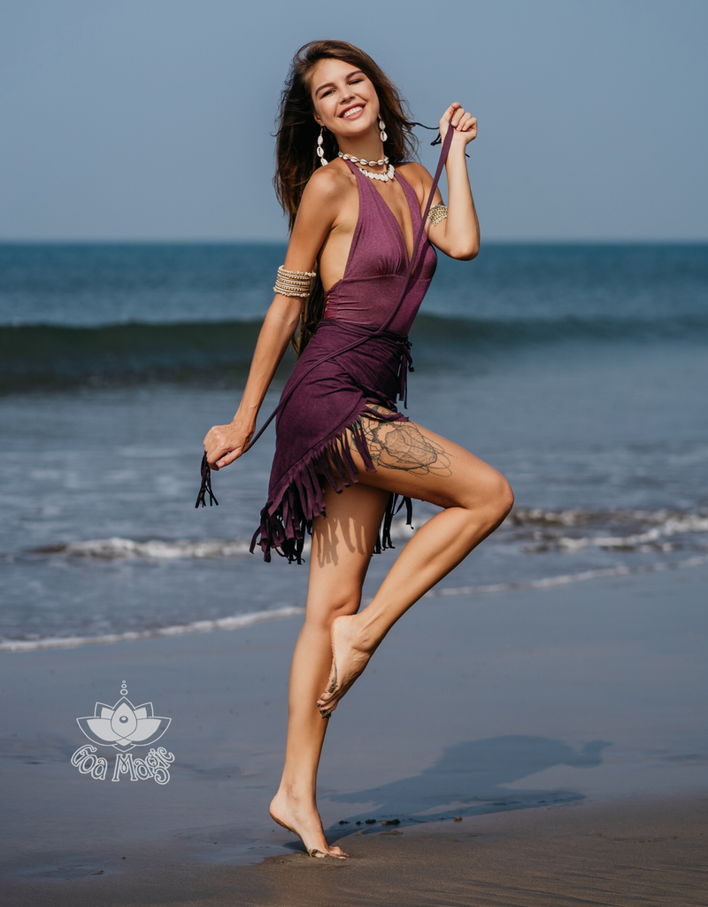 Suede Purple Wrap Swimwear Skirt Decorated with Fringe / Cover up - goa-magic-fashion