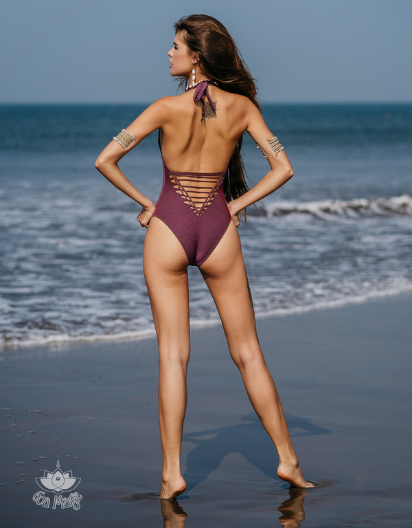 "Pinkish Purple Halter Neck One Piece Swimsuit For Women ""ADI"" (Lycra Fabric)"