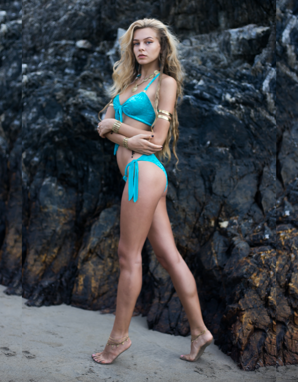 Turquoise VELVET Bikini Set For Women - goa-magic-fashion