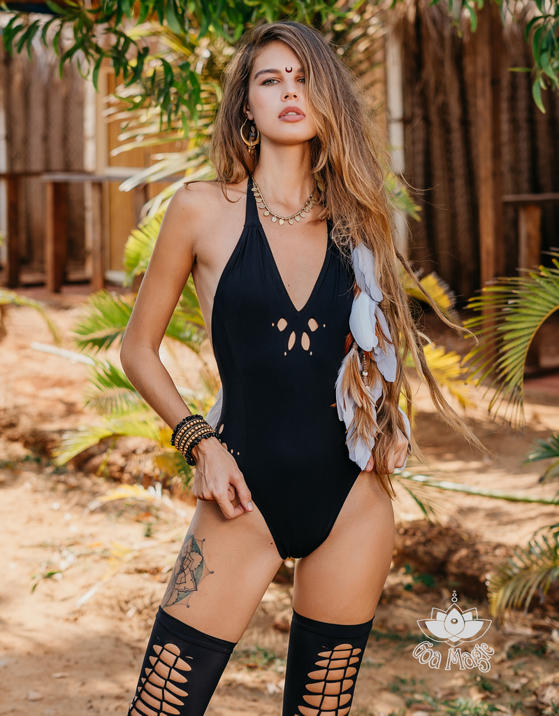 Black Cut Out Flowers One Piece Swimsuit For Women (Lycra Fabric) - goa-magic-fashion