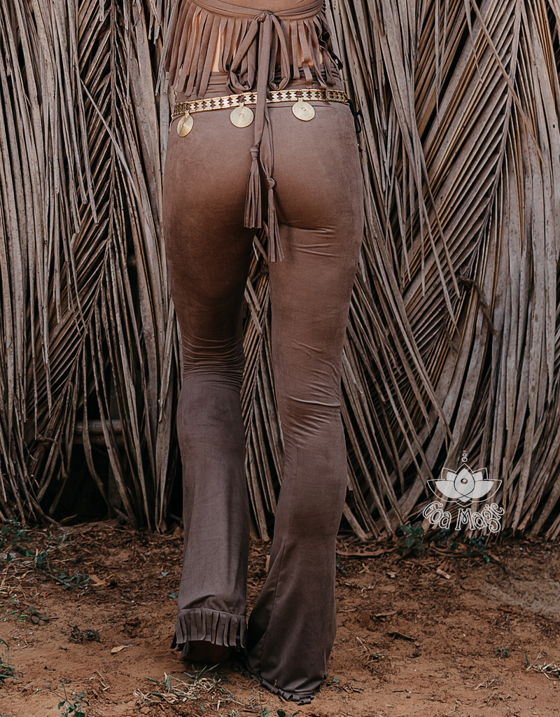 Flair Fringe Pants For Women In Suede Brown with Floral Cutouts - goa-magic-fashion