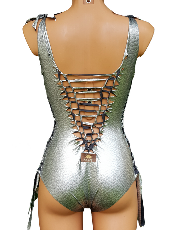 "Metallic Silver One Piece Swimsuit For Women ""DELI"" (Lycra Fabric)"