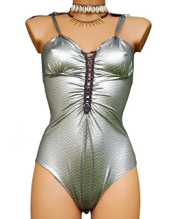 "Metallic Silver One Piece Swimsuit For Women ""CUT"" (Lycra Fabric)"