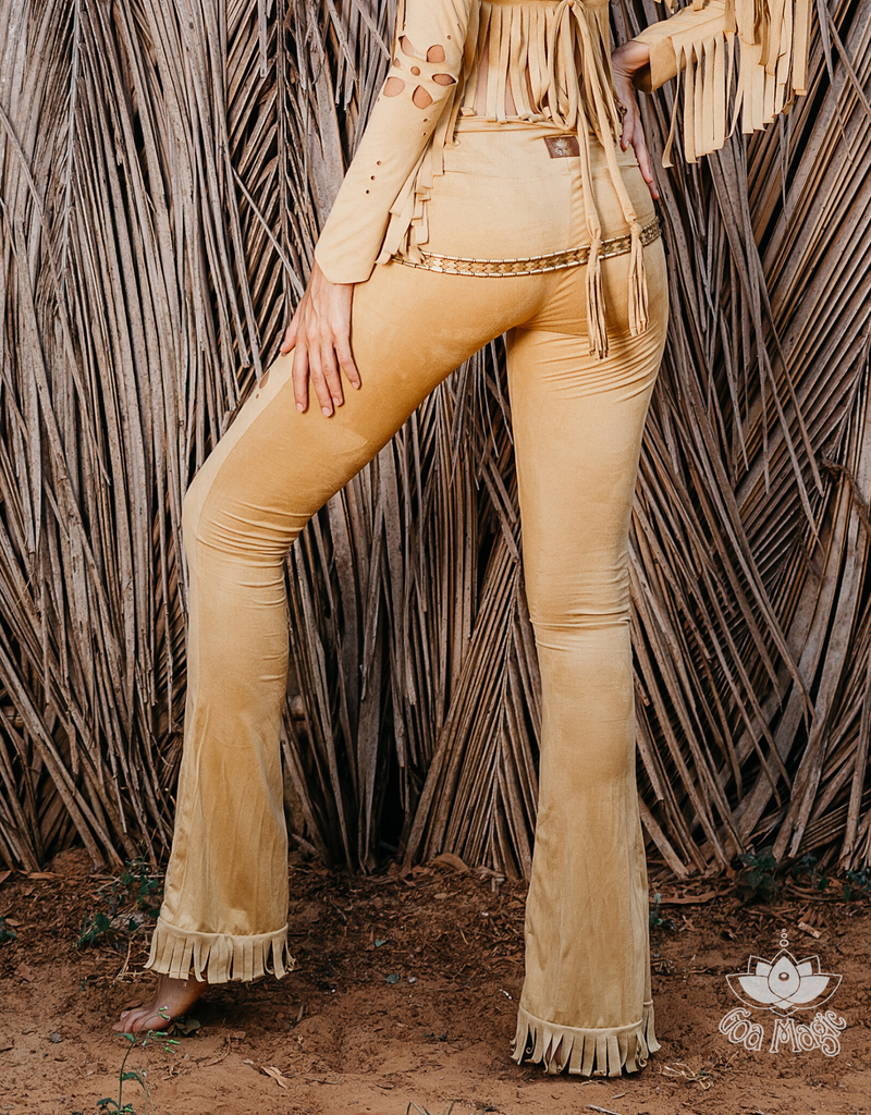 Flair Fringe Pants For Women In Suede Mustard with Floral Cutouts