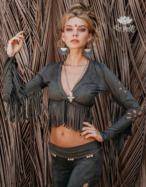 Long Sleeve Fringe Tank Top in Suede Olive Green - goa-magic-fashion