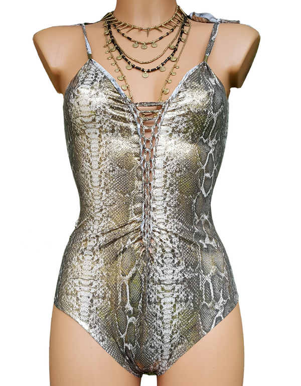 "Metallic Silver Snake One Piece Swimsuit For Women ""CLASSIC"" (Lycra Fabric)"