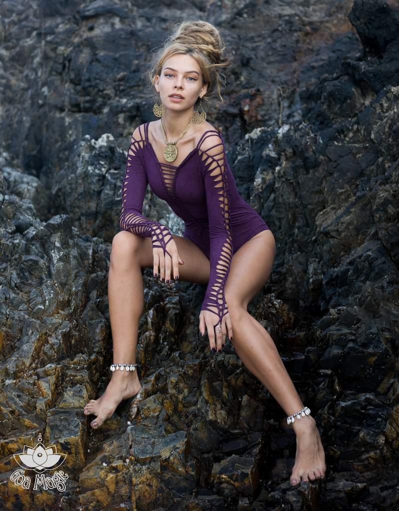 SUEDE Look Long Sleeve Dark Purple Leotard For Women, Dance Bodysuit - goa-magic-fashion