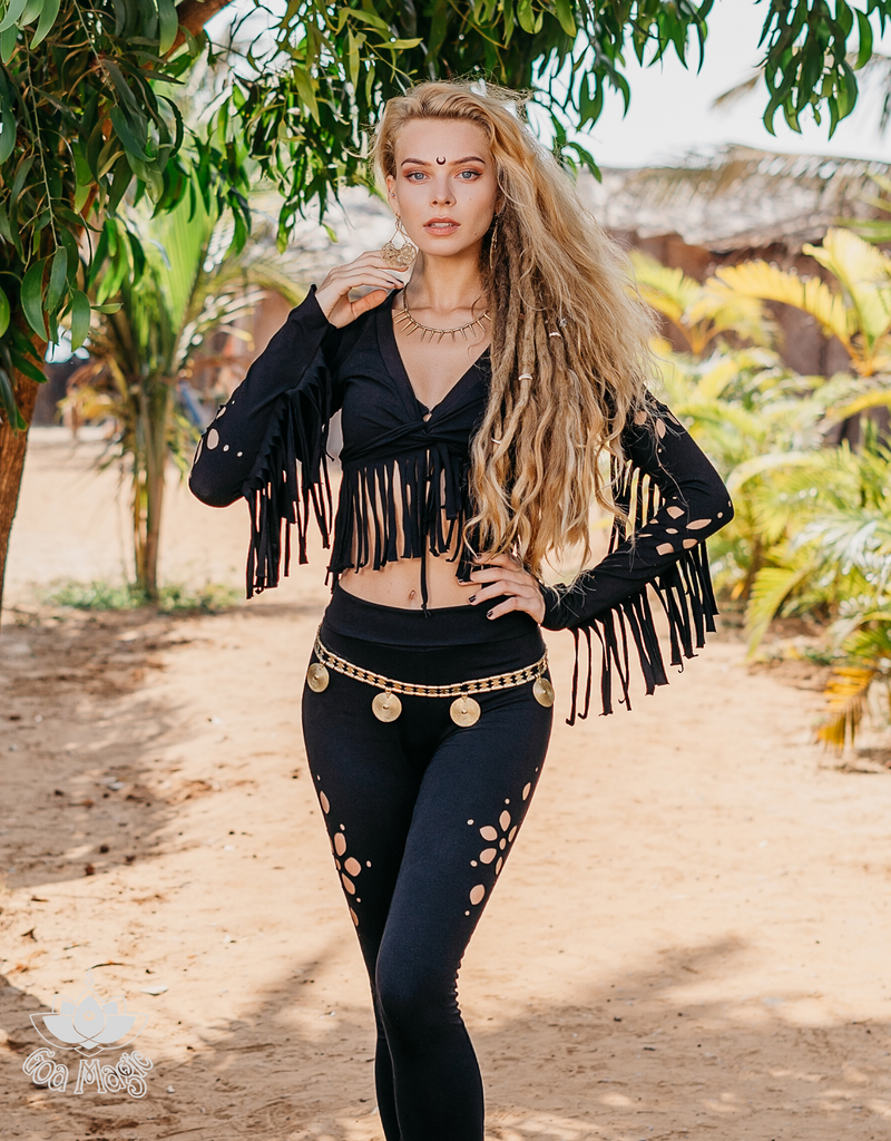 Long Sleeve Fringe Tank Top in Black Cotton fabric - goa-magic-fashion