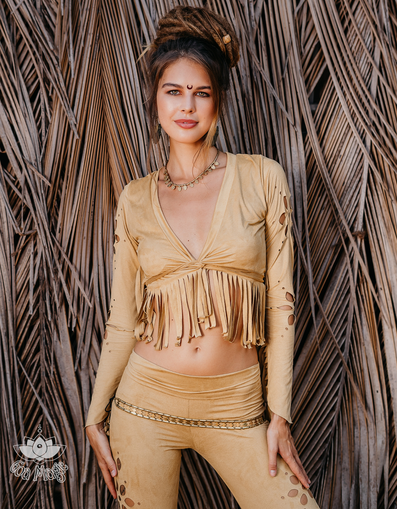 Long Sleeve Fringe Tank Top in Suede Mustard - goa-magic-fashion