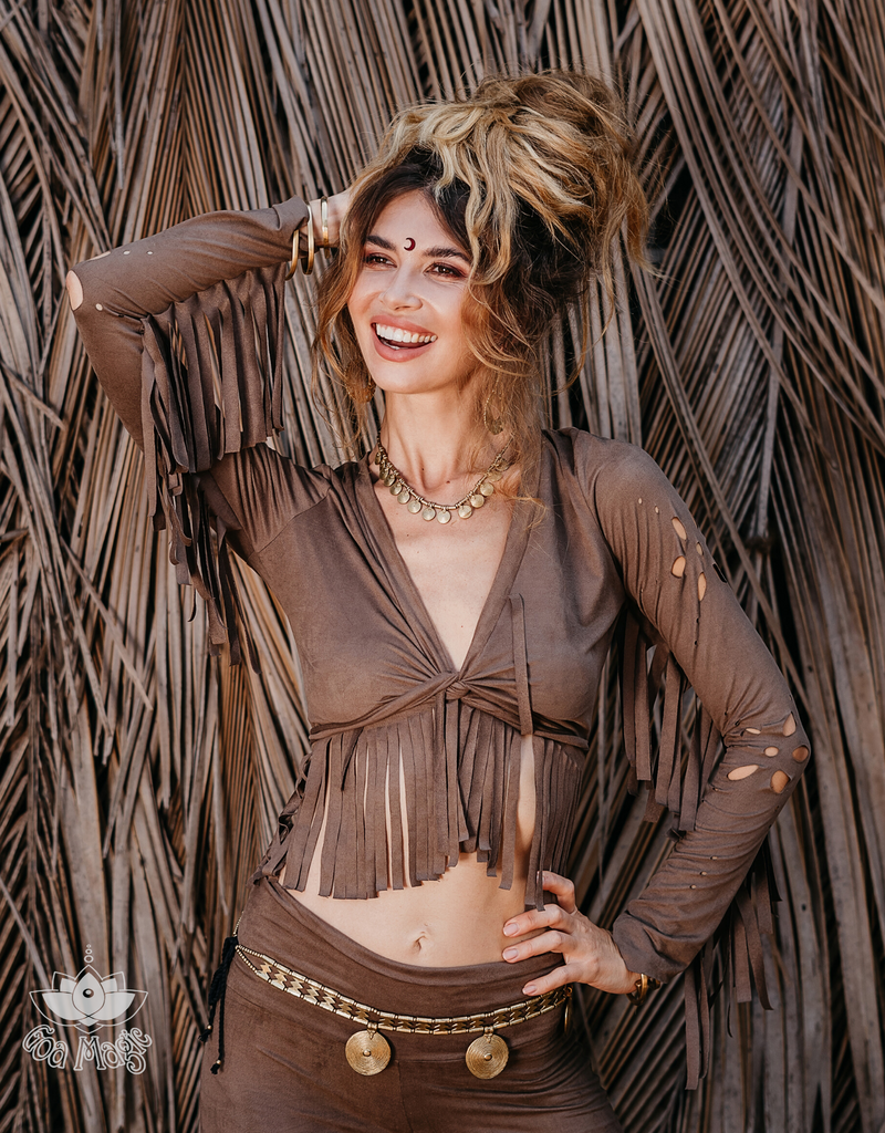 Long Sleeve Fringe Tank Top in Suede Brown - goa-magic-fashion