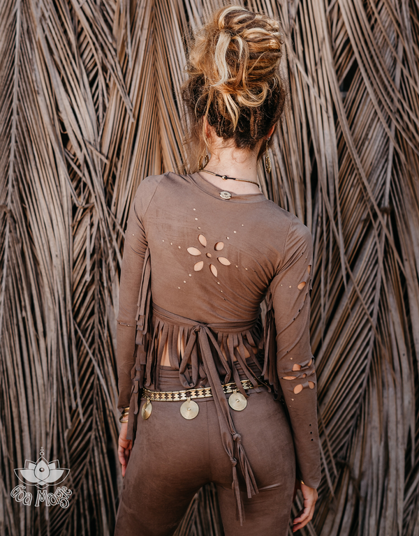 Long Sleeve Fringe Tank Top in Suede Brown