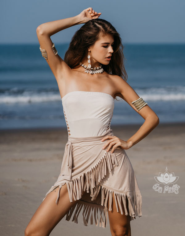 Suede Light Beige Wrap Swimwear Skirt Decorated with Fringe / Cover up