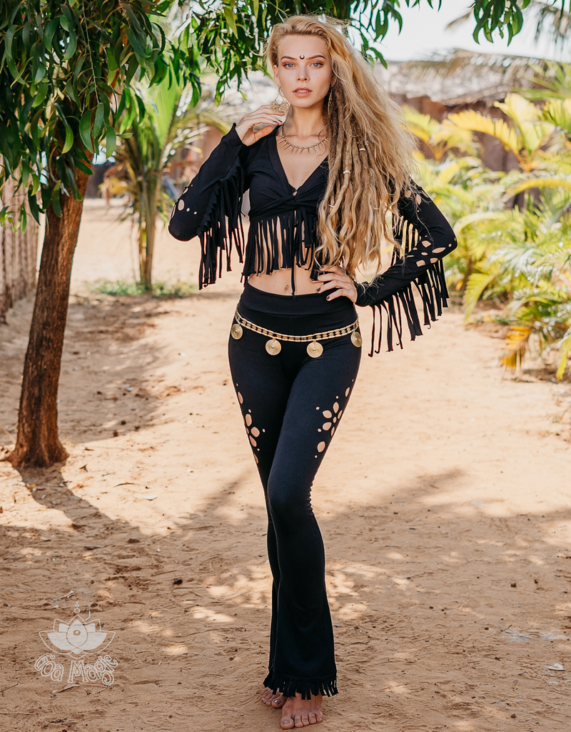 Flair Fringe Pants For Women In Black with Floral Cutouts - goa-magic-fashion