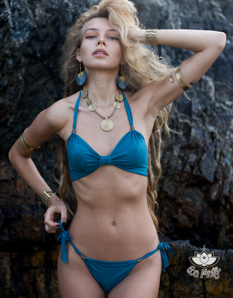 "Suede Look Turquoise Bikini Set For Women ""BEADS"" - goa-magic-fashion"