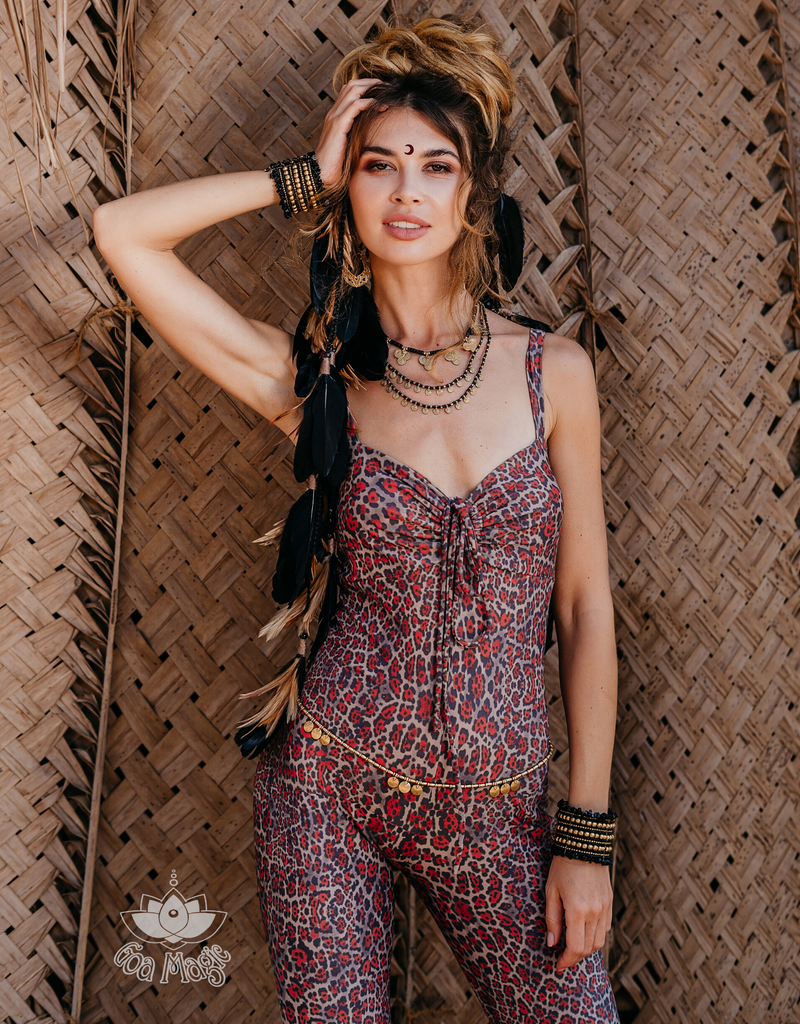 Limited Edition!! Sleeveless Catsuit For Women in Leopard Print - goa-magic-fashion
