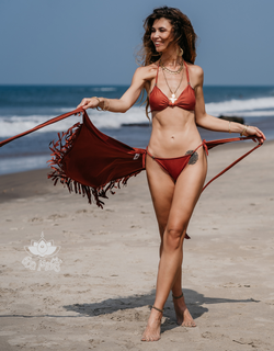 "Suede Look Orange Bikini Set For Women ""BEADS"" - goa-magic-fashion"