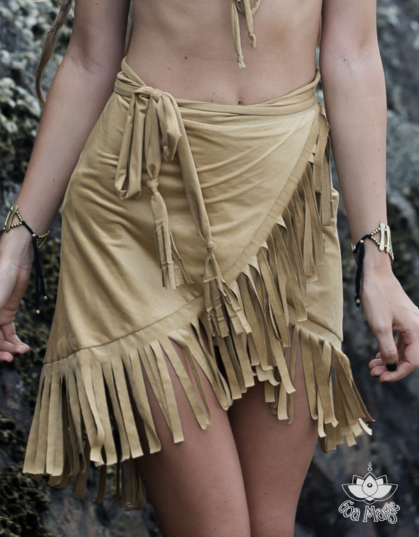 Suede Light Mustard Wrap Swimwear Skirt Decorated with Fringe / Cover up - goa-magic-fashion