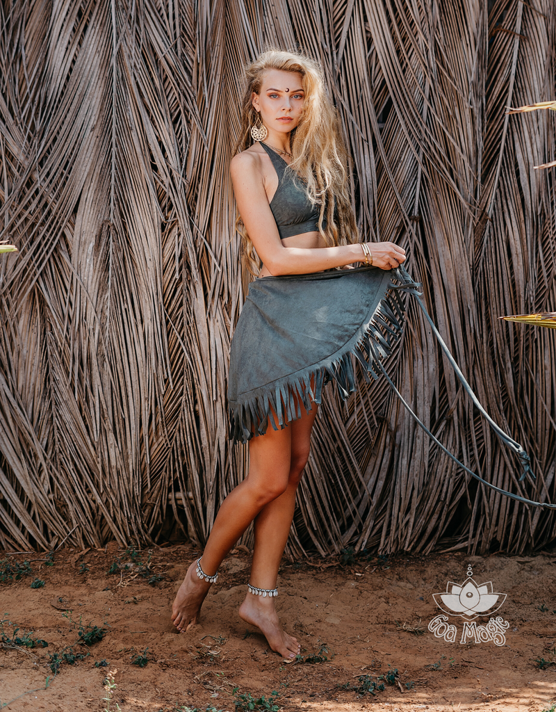 Suede Olive Green Wrap Swimwear Skirt Decorated with Fringe / Cover up - goa-magic-fashion