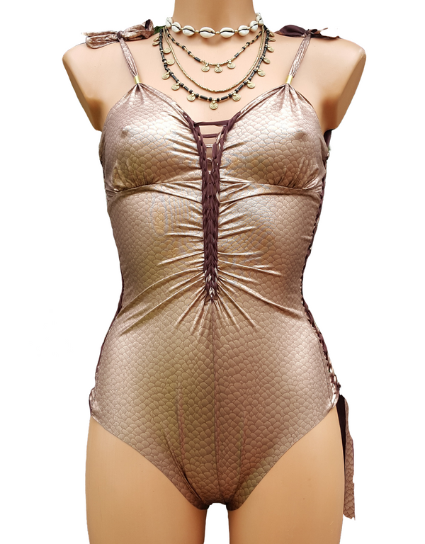 "Metallic Gold One Piece Swimsuit For Women ""DELI"" (Lycra Fabric)"