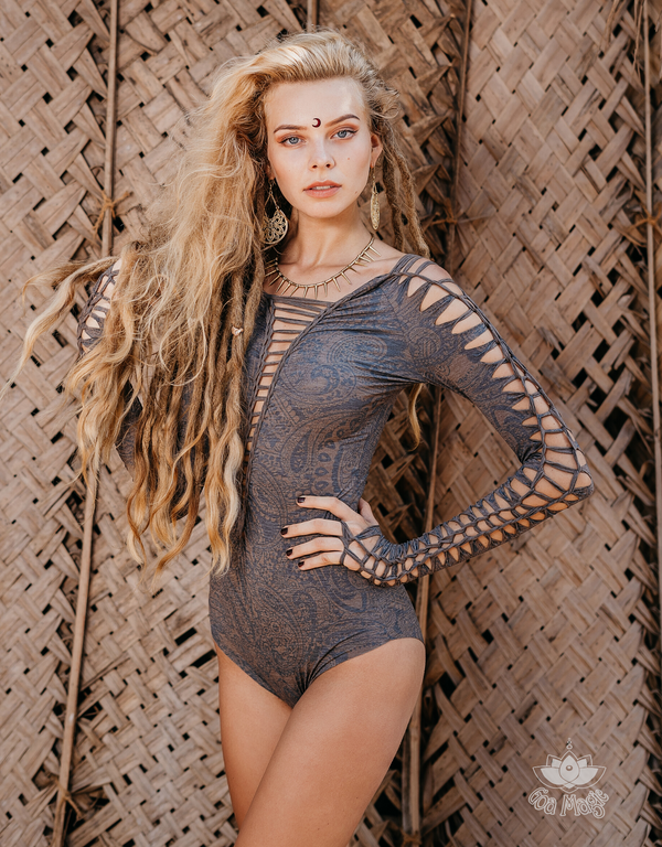 Long Sleeve Printed Gray Leotard For Women, Dance Bodysuit.