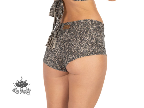 "Booty Shorts ""GAL"" In Printed Black On Nude - Yoga Pants - [By Goa Magic Fashion]"