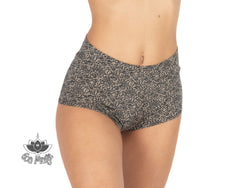 "Booty Shorts ""GAL"" In Printed Black On Nude - goa-magic-fashion"