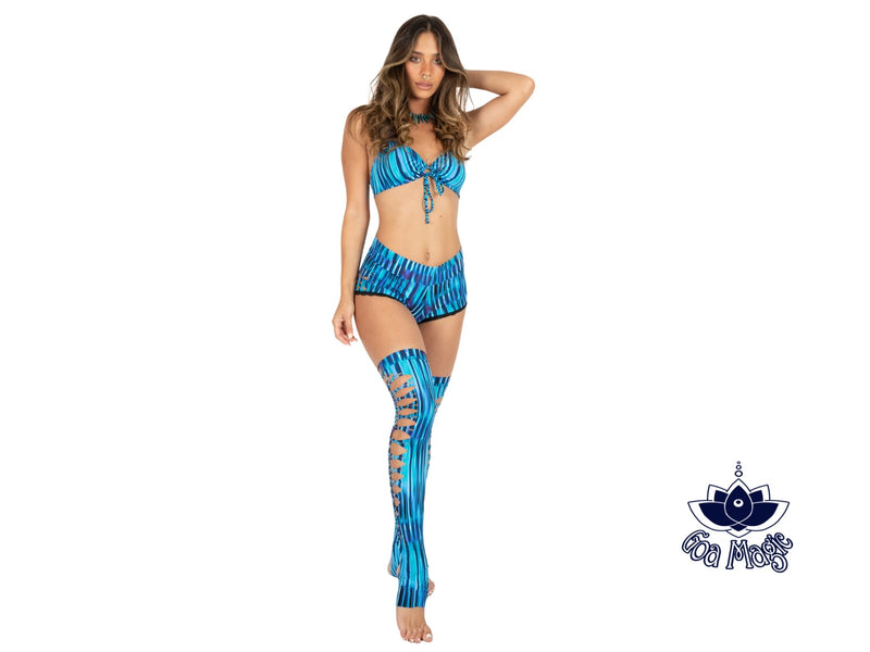 Over The Knee Leg Warmers In Printed Turquoise - goa-magic-fashion