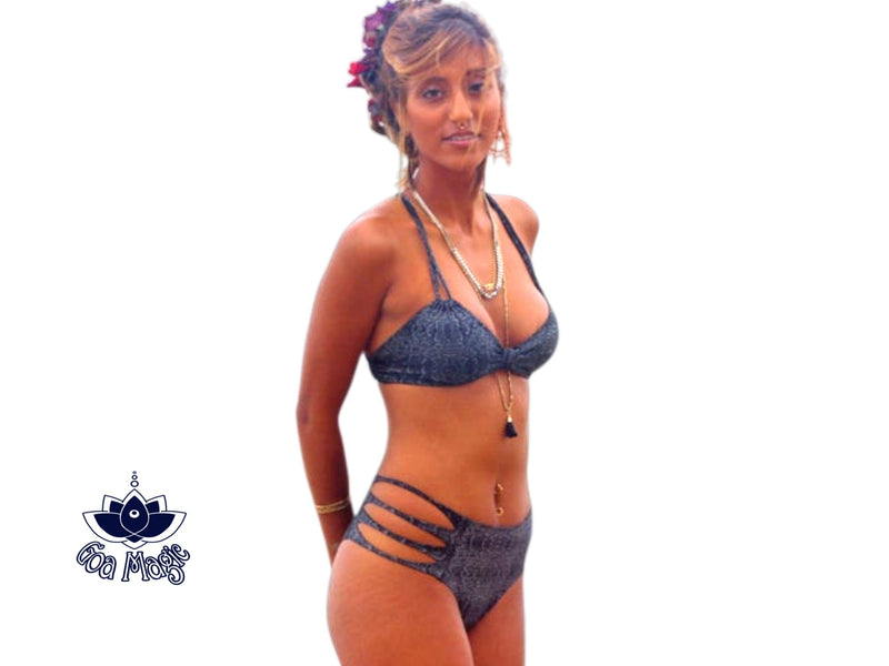 Bikini Set For Women With Black - Silver Snake Pattern Print - goa-magic-fashion