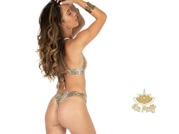 "Thong Bikini Set For Women ""GAL"" In Golden Print - goa-magic-fashion"
