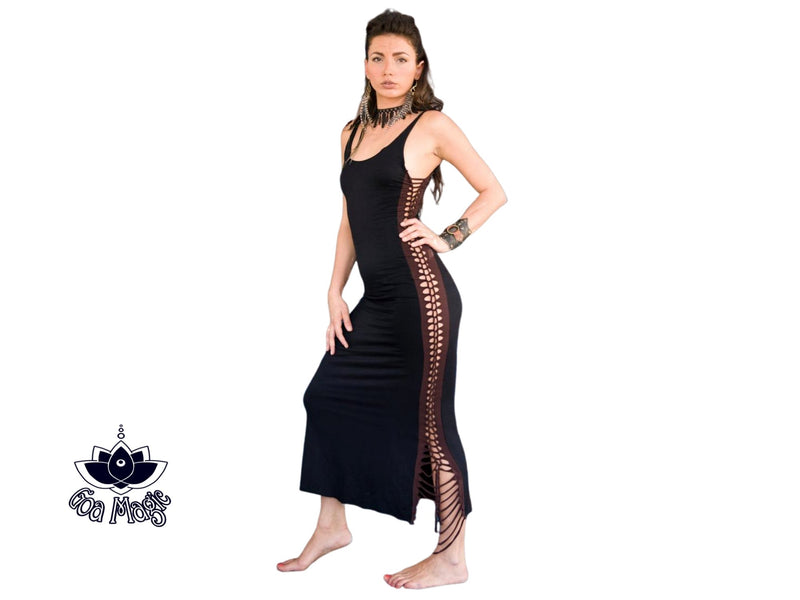 Black Maxi Dress, Long Boho Dress - Dress - [By Goa Magic Fashion]