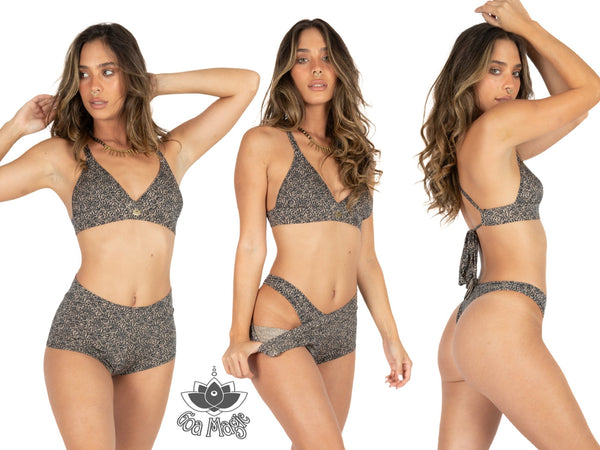 "3 Pieces Bikini set For Women ""GAL"" in Printed Black On Nude - goa-magic-fashion"