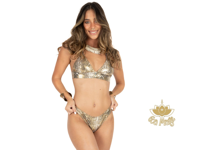 "Thong Bikini Set For Women ""GAL"" In Golden Print - Bikini - [By Goa Magic Fashion]"