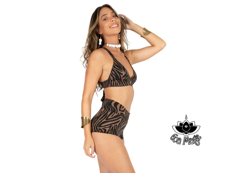 "Cheeky High Waist Bikini For Women ""GAL"" In Brown & Black Print - goa-magic-fashion"