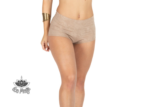 "Booty Shorts ""GAL"" In Suede Nude (Light Beige) Color - Yoga Pants - [By Goa Magic Fashion]"