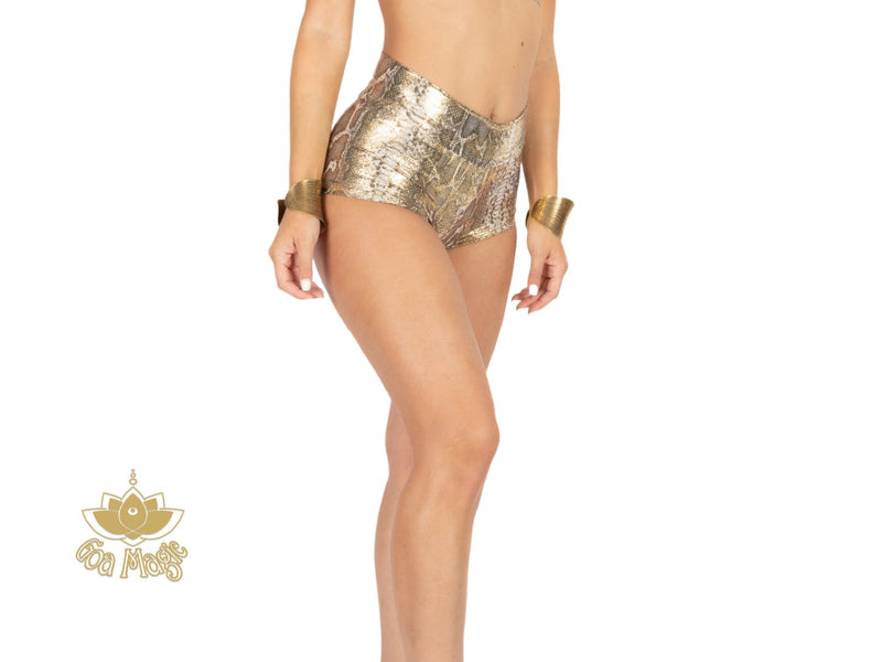 "Booty Shorts ""GAL"" In Golden Print - goa-magic-fashion"