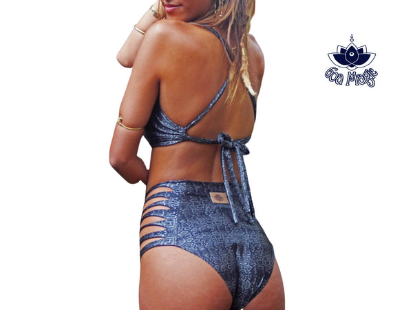 High Waisted Bikini Set For Women With Black - Silver Snake Pattern Print - goa-magic-fashion