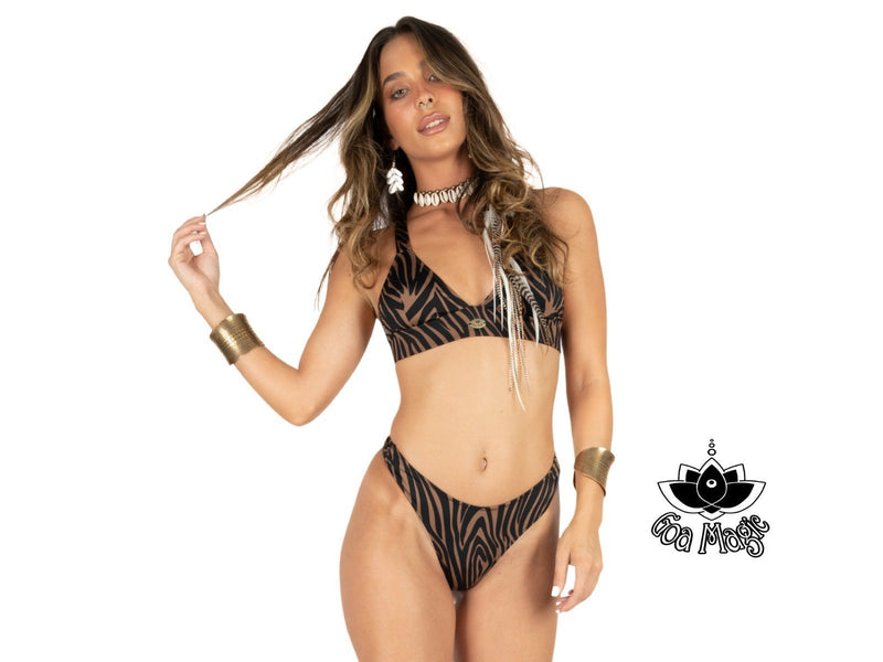 "3 Pieces Bikini set For Women ""GAL"" in Brown & Black print - goa-magic-fashion"