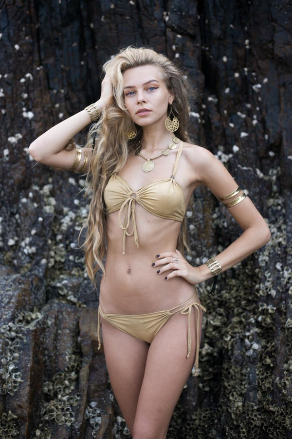"Suede Look Light Mustard Bikini Set For Women ""Cross"" - goa-magic-fashion"
