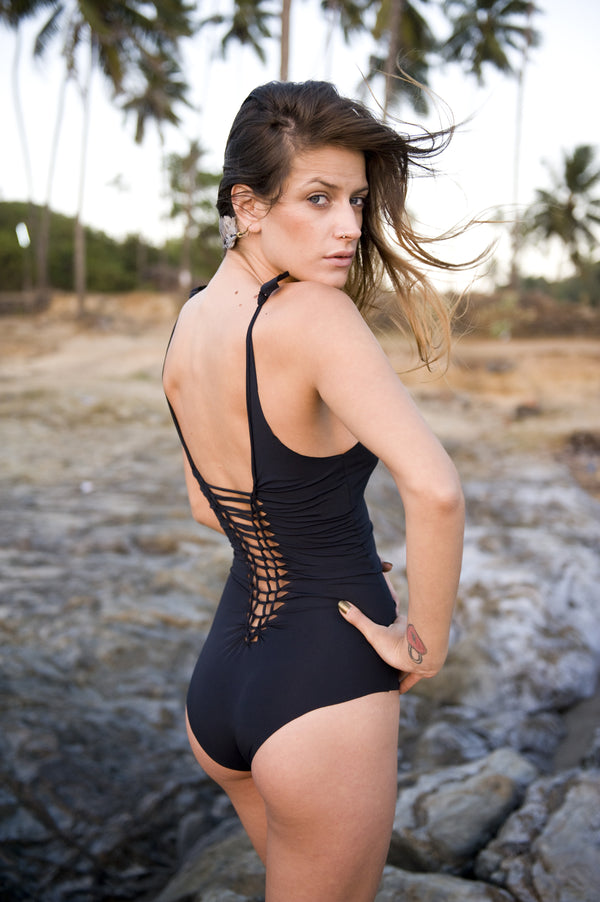 "Black One Piece Swimsuit For Women ""CLASSIC"" (Lycra Fabric) - goa-magic-fashion"